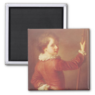Retrato de un peregrino joven, 1725 imán cuadrado