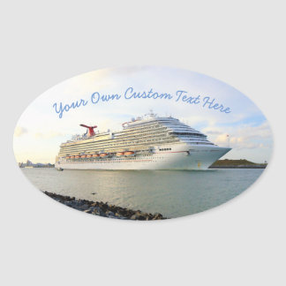Retrato de un personalizado del barco de cruceros pegatina ovalada