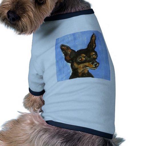 Retrato de un pinscher miniatura camiseta con mangas para perro