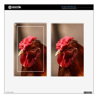 Retrato de un pollo en una granja kindle fire pegatinas skins