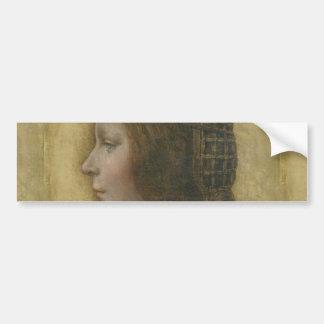 Retrato de un prometido joven de Leonardo da Vinci Pegatina Para Auto