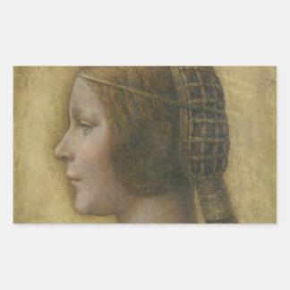 Retrato de un prometido joven de Leonardo da Vinci Pegatina Rectangular
