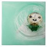 Retrato de un sello en agua azulejo cuadrado grande