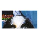 Retrato de una barbilla japonesa negra tarjetas con fotos personalizadas