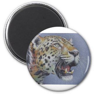 Retrato de una cabeza del tigre imán redondo 5 cm