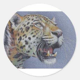 Retrato de una cabeza del tigre etiqueta