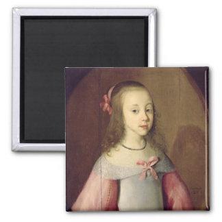 Retrato de una chica joven, 1651 imán cuadrado