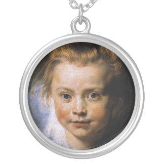 Retrato de una chica joven colgante redondo