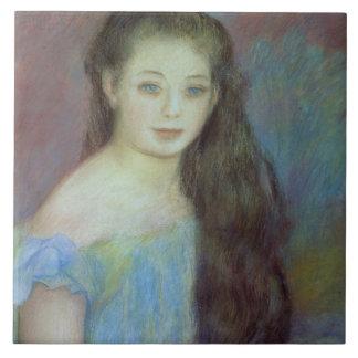 Retrato de una chica joven con los ojos azules, 18 azulejo cuadrado grande