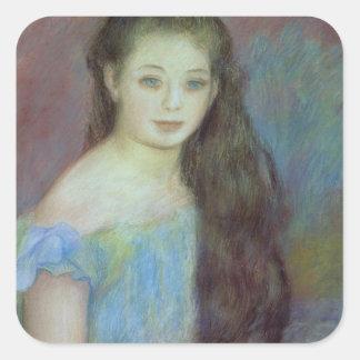 Retrato de una chica joven con los ojos azules, pegatina cuadrada