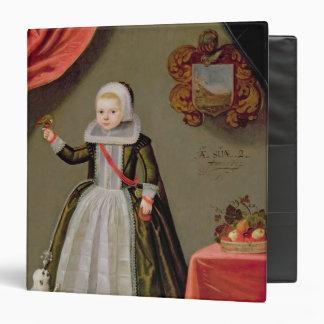 """Retrato de una chica joven con un pájaro carpeta 1 1/2"""""""