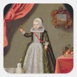 Retrato de una chica joven con un pájaro pegatina cuadrada