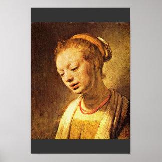 Retrato de una chica joven de Rembrandt Harmensz. Impresiones