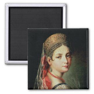 Retrato de una chica joven en Sarafan y Imán Para Frigorifico