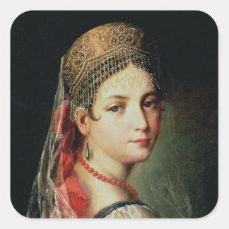 Retrato de una chica joven en Sarafan y Pegatina Cuadrada
