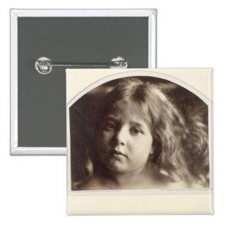 Retrato de una chica joven (impresión del albumen  pin cuadrado