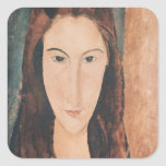 Retrato de una chica joven pegatina cuadrada