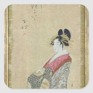Retrato de una cortesana joven pegatina cuadrada