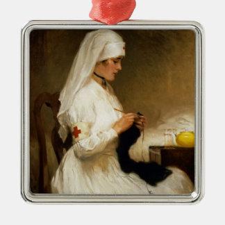 Retrato de una enfermera de la Cruz Roja Adorno Cuadrado Plateado