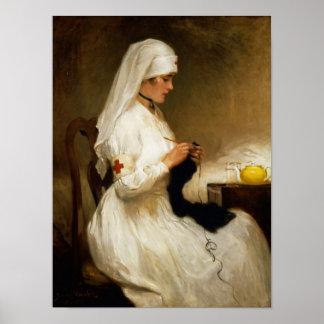 Retrato de una enfermera de la Cruz Roja Póster