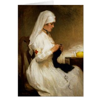 Retrato de una enfermera de la Cruz Roja Tarjeta