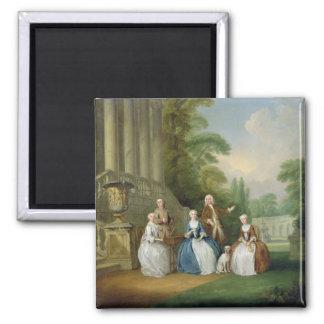 Retrato de una familia 1740 aceite en lona iman de nevera
