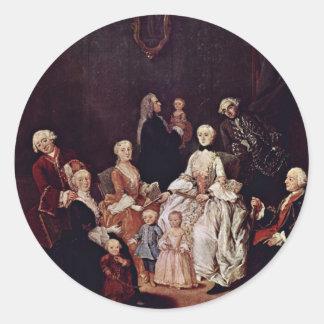 Retrato de una familia del Patrician de Longhi Pegatina Redonda