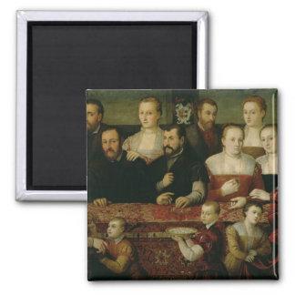 Retrato de una familia grande imanes para frigoríficos