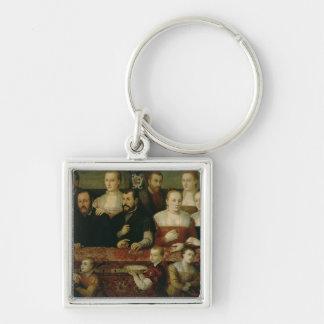 Retrato de una familia grande llavero cuadrado plateado
