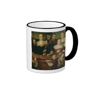 Retrato de una familia grande tazas de café