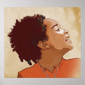Retrato de una impresión del chica impresiones