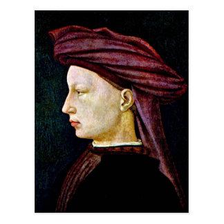 Retrato de una juventud en perfil tarjeta postal
