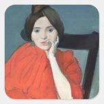 Retrato de una mujer, 1890 pegatina cuadrada