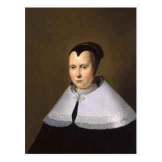 Retrato de una mujer aceite en el panel postal