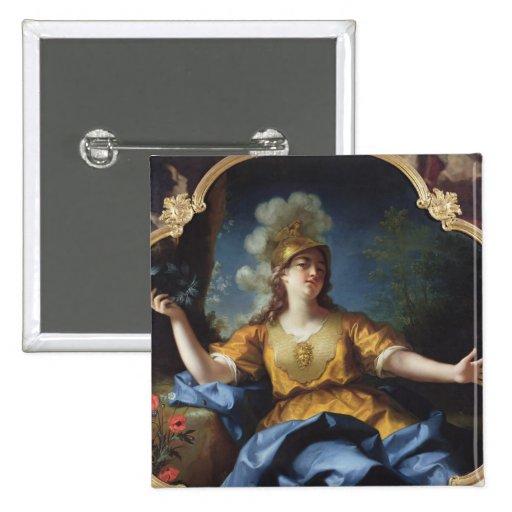 Retrato de una mujer como Minerva, 1730 Pin Cuadrado