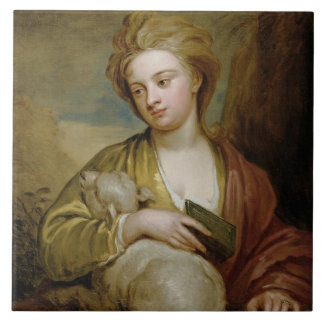Retrato de una mujer como St. Inés, tradicionalmen Azulejo Ceramica