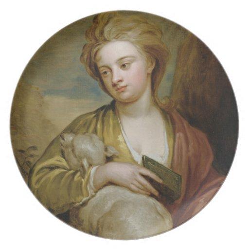 Retrato de una mujer como St. Inés, tradicionalmen Plato