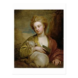 Retrato de una mujer como St. Inés, tradicionalmen Postales