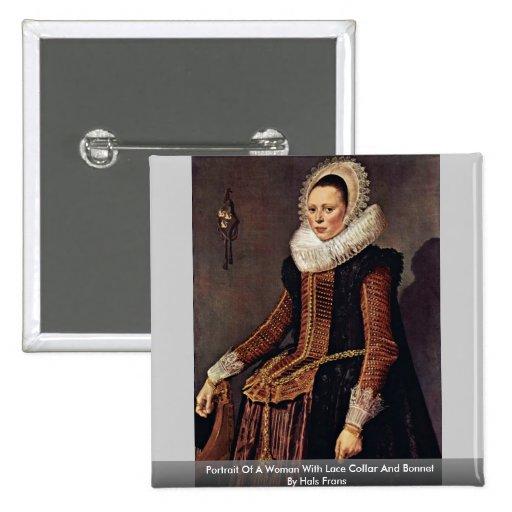 Retrato de una mujer con el cuello y el capo del chapa cuadrada 5 cm