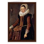 Retrato de una mujer con el cuello y el capo del tarjeta de felicitación