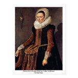 Retrato de una mujer con el cuello y el capo del postal