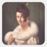 Retrato de una mujer con un perno de pelo pegatinas cuadradas