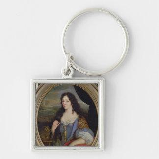 Retrato de una mujer docta desconocida en frente llavero cuadrado plateado
