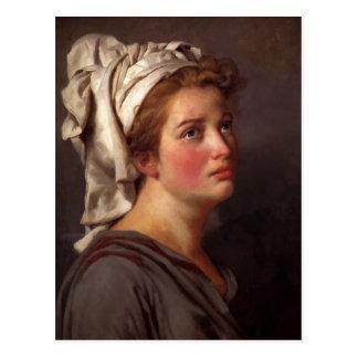 Retrato de una mujer en un turbante de Jacques Dav Postal