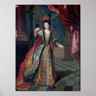 Retrato de una mujer en un vestido de bola póster