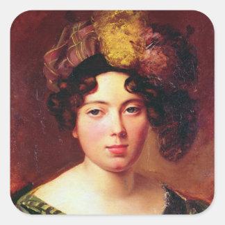 Retrato de una mujer escocesa joven pegatina cuadrada