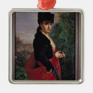 Retrato de una mujer española adorno cuadrado plateado