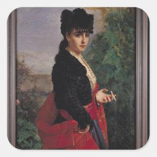 Retrato de una mujer española calcomanías cuadradass personalizadas
