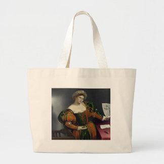 Retrato de una mujer inspirada por la bolsa de asa