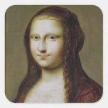 Retrato de una mujer inspirada por la Mona Lisa Pegatina Cuadrada